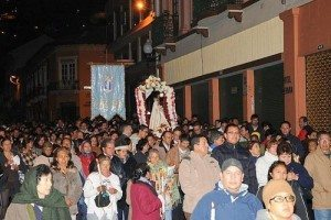 "The ""Rosary of the Dawn"" procession around the Presidential Palace and through Quito's historic district"