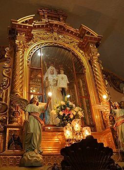 The miraculous statue of Our Lady of Good Success in the high choir of the cloistered Conceptionist Convent, where she appeared to Mother Mariana of Jesus Torres y Berriochoa on February 2, 1594