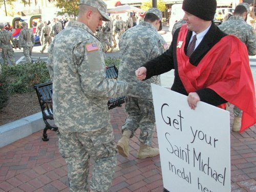 TFP member hands out Saint Michael medals to soldiers at Fort Benning