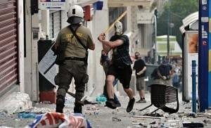 Riots in Athens against the Greek government's austerity plan.