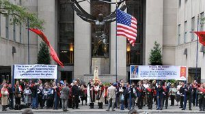The Public Square Rosary Rally on Fifth Avenue in front of the Rockerfeller Center, was one of 275 rallies in the greater metropolitan New York area.