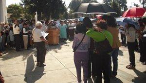 Public square rosary rally in San Jose, California.