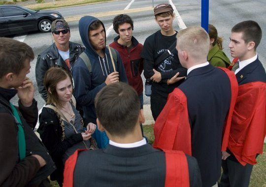 TFP Student Action debates with SOA Watch protesters