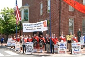 TFP Leads Protest of Pro-Abortion Kathleen Sebelius at Georgetown