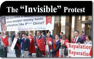 """The """"Invisible"""" Protest Against the """"P*** Christ"""" Blasphemy in Manhattan"""