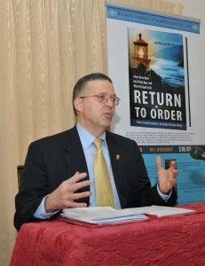 John Horvat pre-launching Return to Order book, Washington, DC