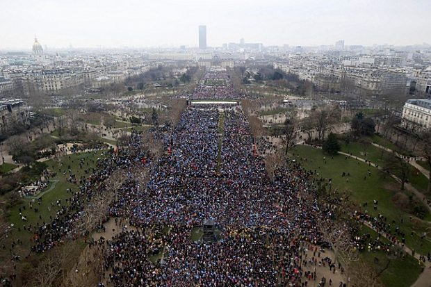 Overview of the Traditional Marriage Rally in Paris, France on January, 13, 2013