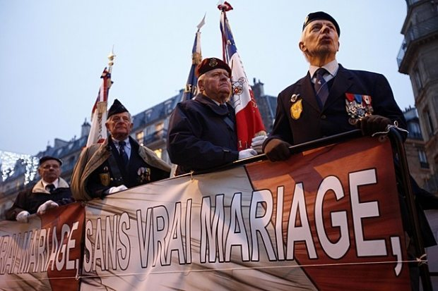 World War II Veterans show support at Traditional Marriage Rally in Paris, France on January, 13, 2013