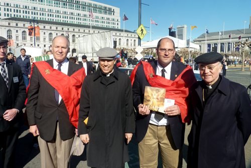Among the distinguished speakers at the Walk for Life was His Excellency Archbishop Carlo Maria Vigano, Apostolic Nuncio to the United States, and the Most Reverend Salvatore J. Cordileone, Archbishop of San Francisco, seen here with TFP members Mr. Philip Calder and Mr. Michael Whitcraft.