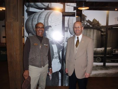 With Freddie Johnson, a third generation employee of Buffalo Trace. Employees at these distilleries, even those not directly related to patriarchal figures, pride themselves in simply being a part of this rich tradition