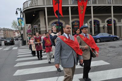 The six-mile walking pilgrimage in the city of New Orleans, from Saint Louis Cathedral to the National Shrine of Our Lady of Prompt Succor.