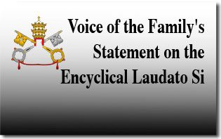 Voice of the Family's Statement on the Encyclical Laudato Si'