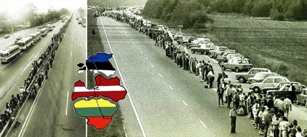 August 23 1989 - Two million people in the Baltics (Lithuania, Estonia, Latvia), then still Soviet Socialist Republics, joined hands to form a human chain more than 600 km long crossing the three Baltic republics and passing by the three capitals, Vilnius, Tallinn and Riga, respectively