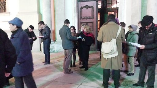Budapest, Hungary — Collecting signatures in front of a Franciscan church.