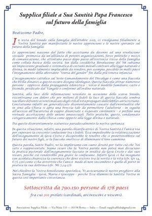 Supplica filiale a sua Santità Papa Francesco sul futuro della famiglia, Filial Appeal to Pope Francis on the Future of the Family
