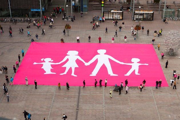 Finnish marriage movement, Aito Avioliitto (True Marriage Association) display a massive 600 square meter flag in Narinkkatori Square, Helsinki
