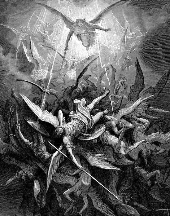 Lucifer and his followers revolt against God and are expelled from Heaven by Saint Michael's Quis Ut Deus