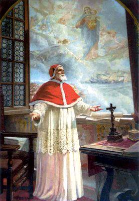 Pope Saint Pius V's prayers are answered by Our Lady and his confidence is rewarded with a vision of the victory at Lepanto