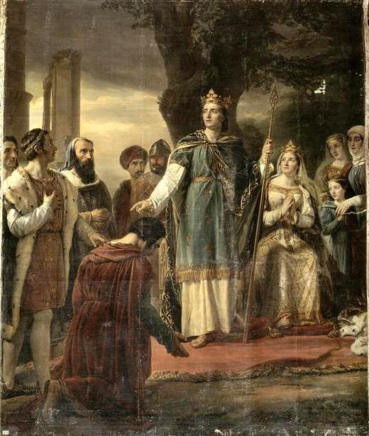 King Saint Louis IX dispensing justice under the tall oak tree of Vincennes - painting by Georges Rouget