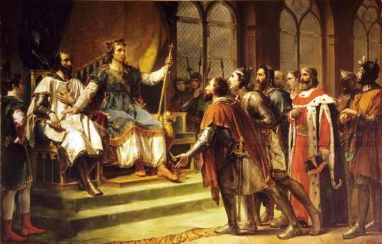 "King Saint Louis sought after justice. His money enjoyed the trust and confidence of the people because they knew the saintly king would not manipulate or debase it. He used the power and prestige of his office to advance the common good and not his personal affairs. ""Saint Louis IX mediating between King England and his Barons"" by Georges Rouget."