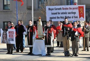 American TFP members in TFP ceremonial habit with friends and supporters protest satanic sacrilege in Oklahoma City, Christmas Eve, 2015