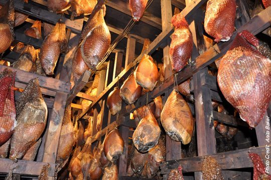 Newsom's cured hams are aged for up to 22 months