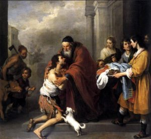 MURILLO, Bartolomé Esteban Return of the Prodigal Son 1667-70 Aut.Contrast