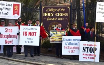 Blasphemous Professor Protested at Jesuit-run Catholic College