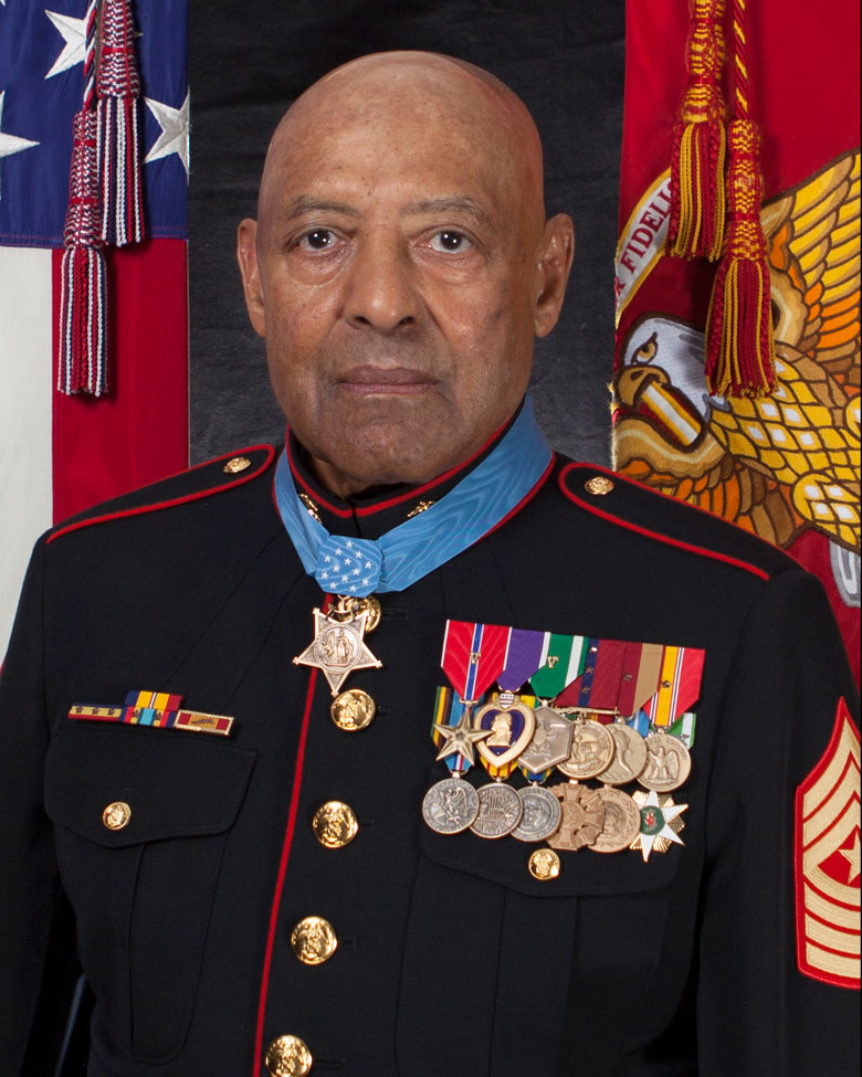 Retired United States Marine Corps Sergeant Major John L. Canley, Medal of Honor recipient