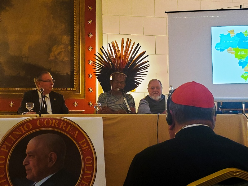 Raymond Cardinal Burke at the TFP-sponsored October 5 Synod Conference held in Rome-Listen to the Amazon Indians Not Liberation Theologians