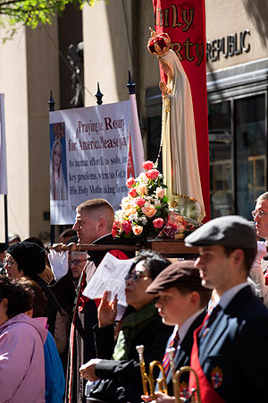 Statue of Our Lady of Fatima carried by TFP members in Ceremonial Habit during the 2019 Public Square Rosary Rally in New York City