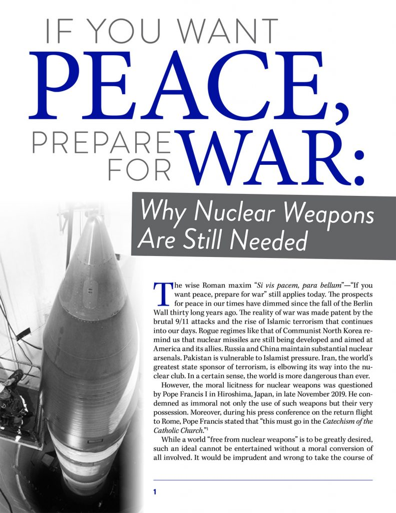 If You Want Peace, Prepare for War—Why Nuclear Weapons Are Still Needed