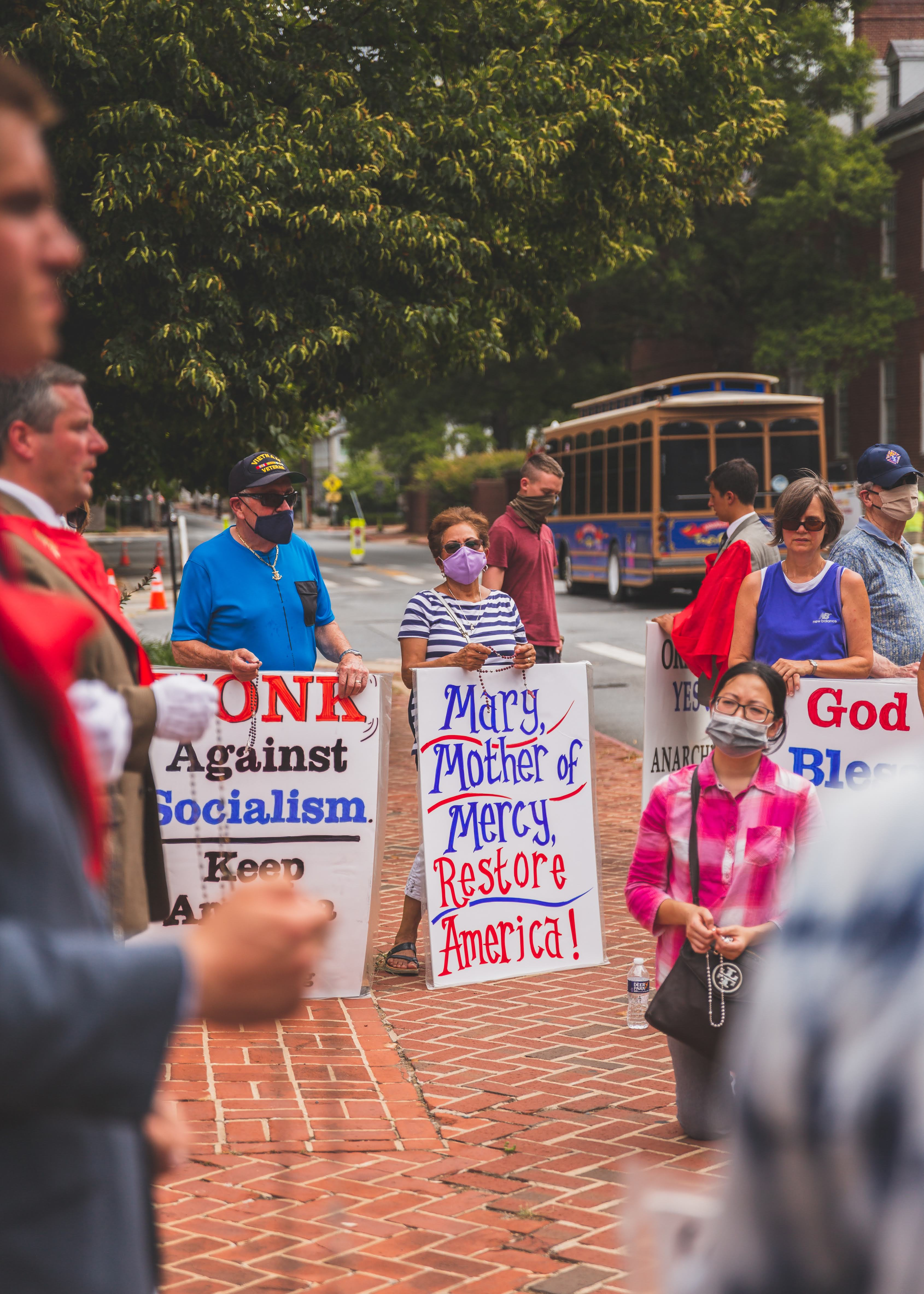 Maryland Catholics Rallying in Scorching Heat Draw Tears from Cop