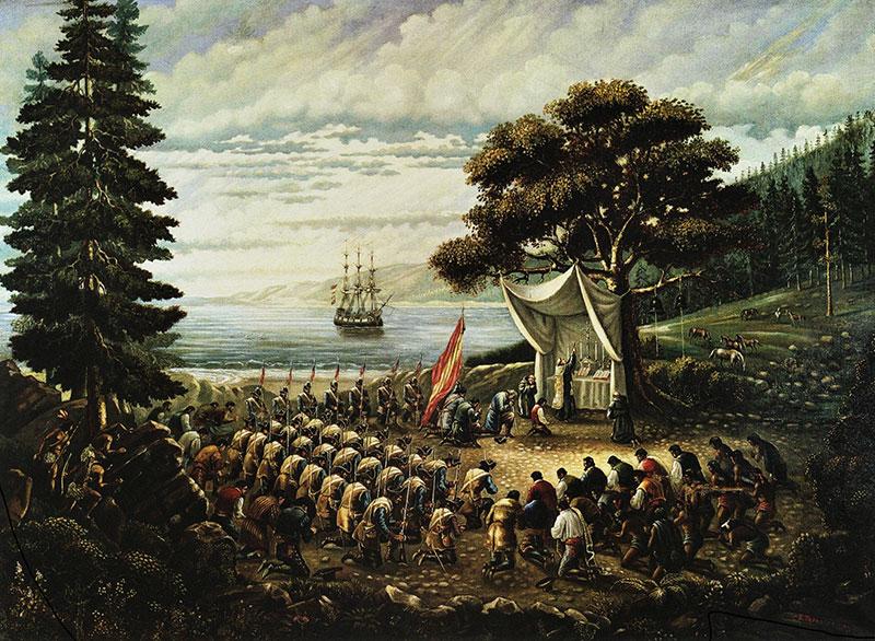 Saint Junípero Serra celebrating Mass in Monterey, California on June 3, 1770