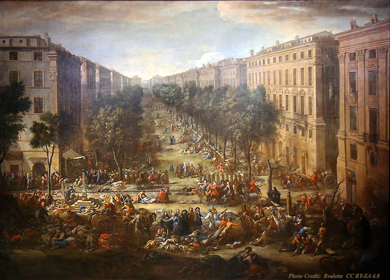 """View of the Course during the plague of 1720"" painting by Michel Serre"