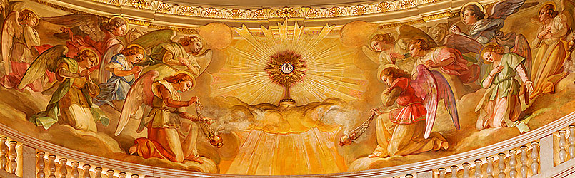 Angels' Adoration of the Holy Eucharist, cupola fresco by Giuseppe Rollini (1889-1891) in the Basilica of Mary Help of Christians, Turin, Italy